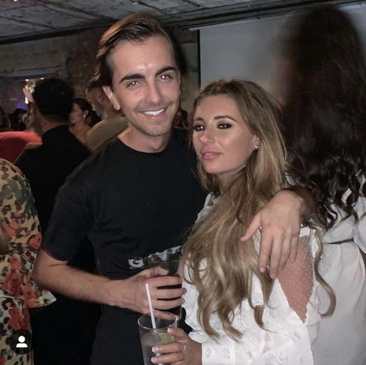 Image may contain: Dani Dyer new boyfriend, Dani Dyer, boyfriend, Love island, Love island 2018, Sammy Kimmence, Apparel, Clothing, Drinking, Night Life, Indoors, Interior Design, Alcohol, Party, Beverage, Drink, Bar Counter, Pub, Skin, Human, Person