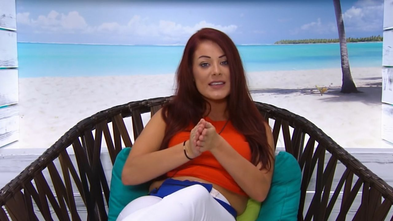 Image may contain: Love Island most shocking moments, Love Island, 2015, series one, season 1, most shocking, highlights, best bits, Apparel, Clothing, Heel, Pillow, Cushion, Person, Human, Chair, Furniture