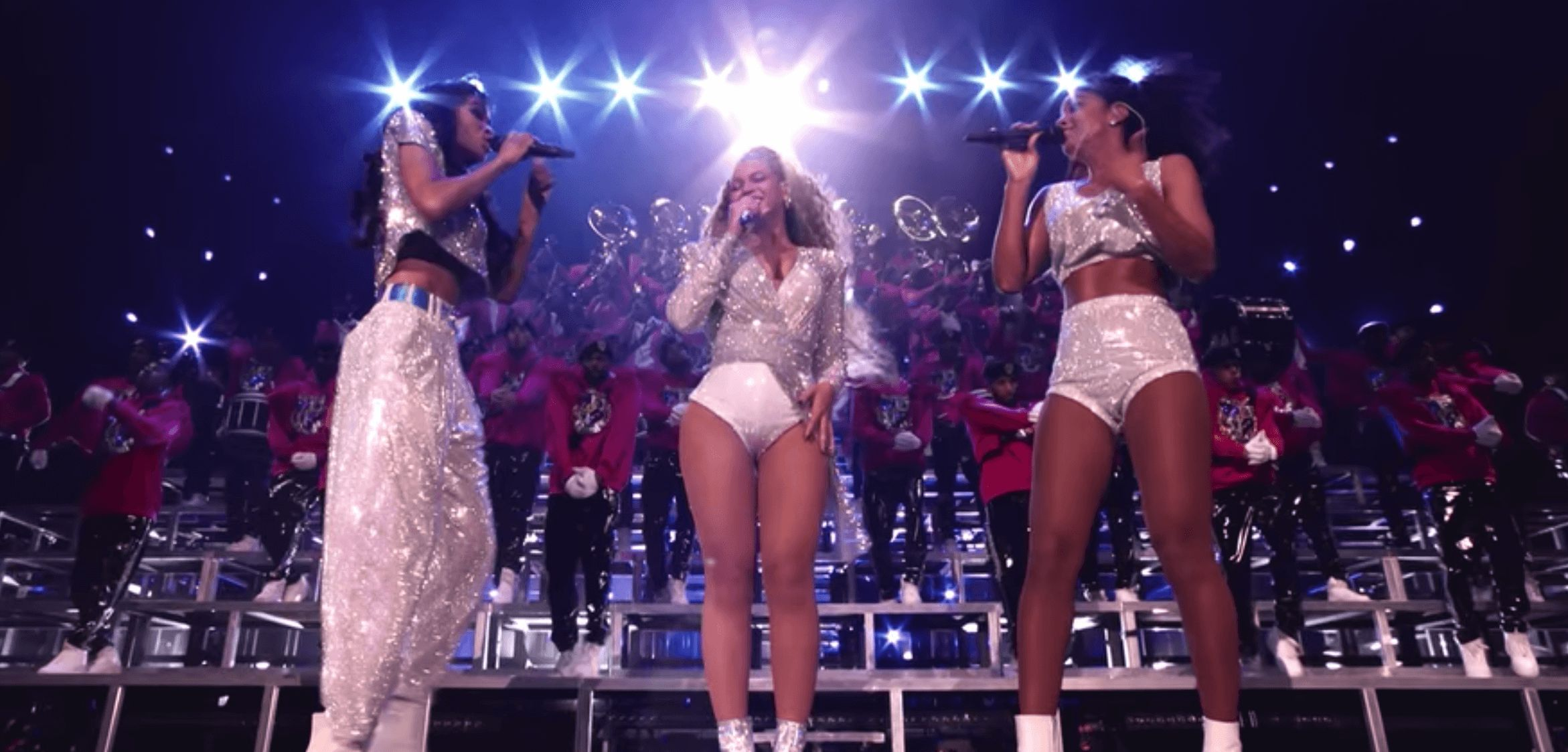 Image may contain: Beyoncé's Homecoming, beyonce, netflix, homecoming, a film by beyonce, documentary, Apparel, Footwear, Shoe, Clothing, Crowd, Night Club, Club, Night Life, Human, Person
