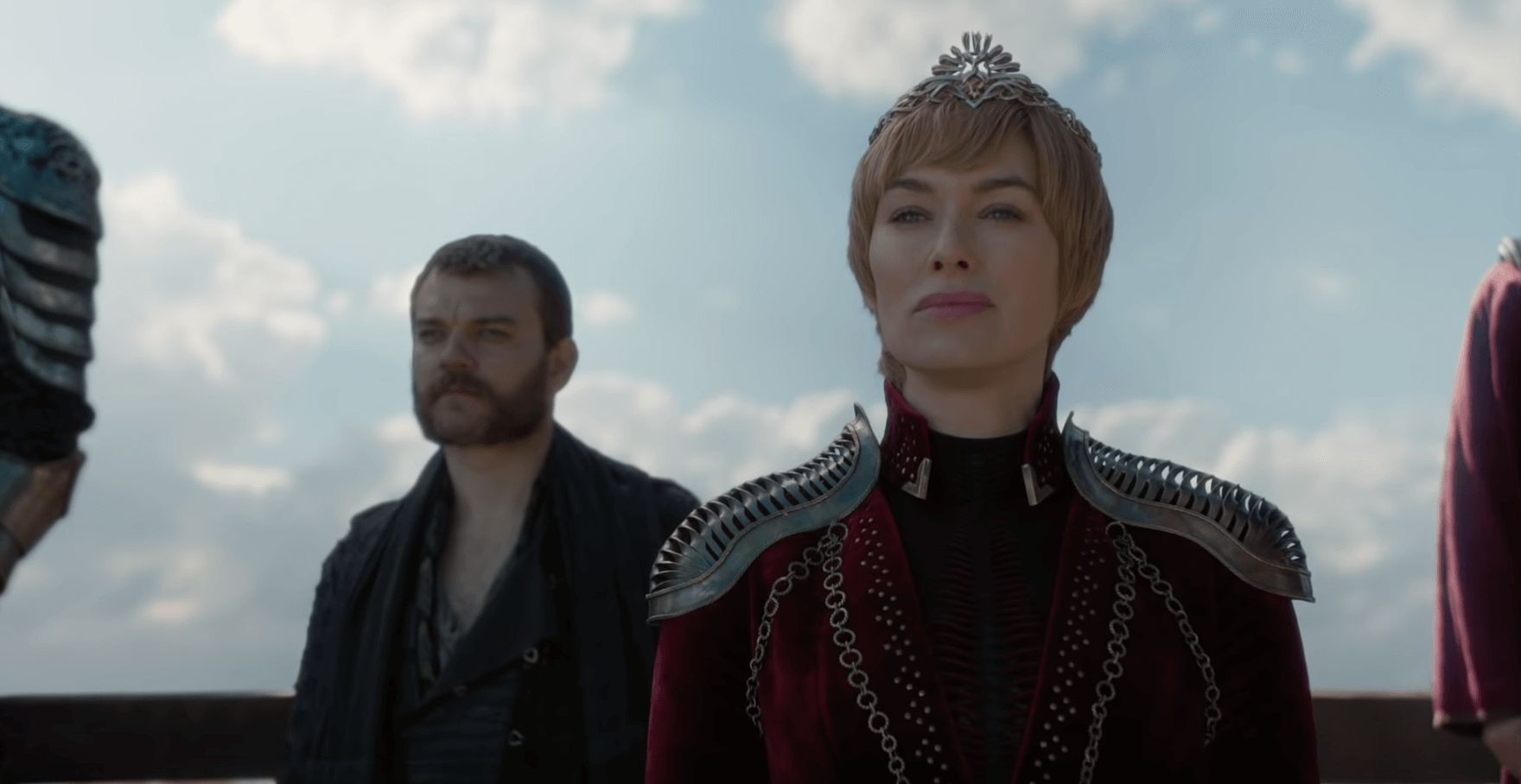 Image may contain: Game of Thrones episode 4, season 8 episode 4, Game of Thrones trailer, Game of Thrones, Cersei, Coat, Jacket, Apparel, Clothing, Person, Human