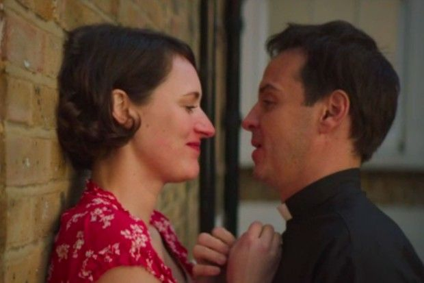 Image may contain: the priest in Fleabag, Fleabag, BBC Three, Andrew Scott, drama, news, updates, cast, Dating, Head, Face, Human, Person
