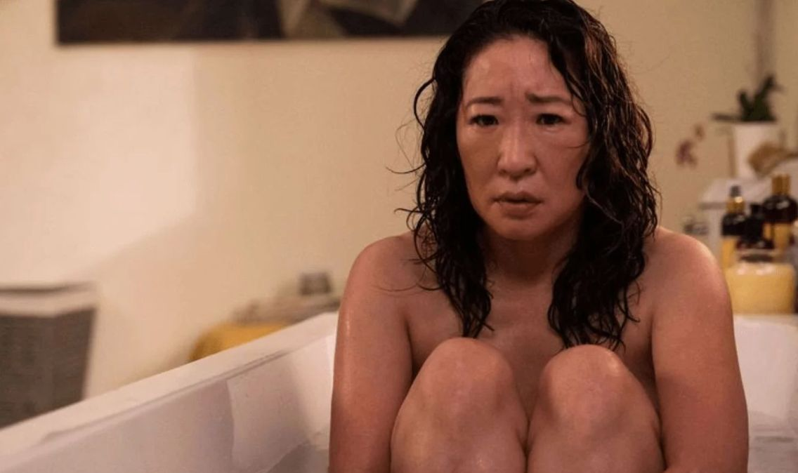 Image may contain: Killing Eve season 3, Killing Eve, new series, series three, series, season, cast, trailer, news, release date, start, Sandra Oh, Jodie Comer, Face, Bathtub, Tub, Person, Human