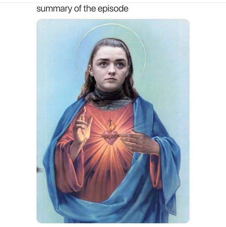 Image may contain: Game of Thrones season 8 episode 3 memes, Game of Thrones memes, Game of Thrones, meme, reaction, GoT, season 8 episode 3, funny, tweet, review, memes 2019, Female, Art, Painting, Human, Person, Fashion, Cloak, Apparel, Clothing