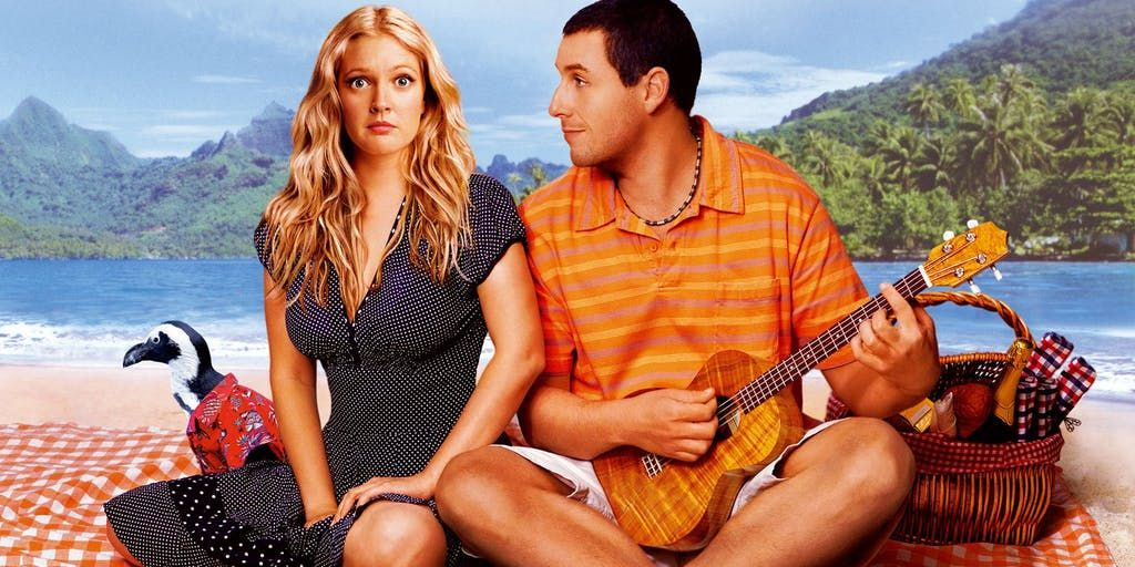 Image may contain: best hangover films on Netflix, UK, US, Netflix, Adam Sandler, Drew Barrymore, film, movie, hangover, sunday, chill, Girl, Woman, People, Bird, Animal, Female, Human, Person, Musical Instrument, Guitar, Leisure Activities
