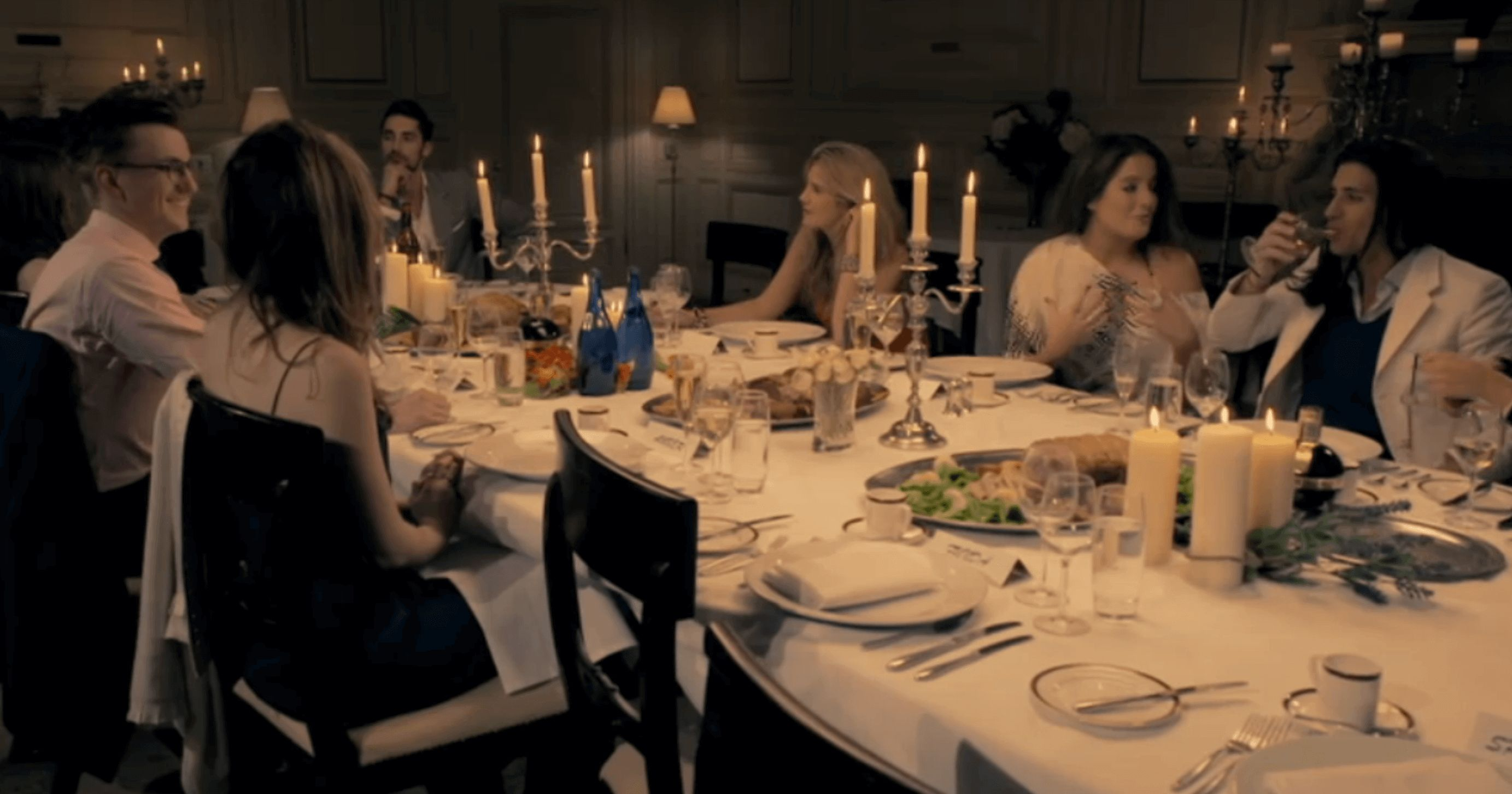 Image may contain: Made in Chelsea is staged, Made in Chelsea, series one, season 1, first episode, dinner party, Binky, Ollie Locke, Home Decor, Tablecloth, Glass, Room, Indoors, Dining Room, Restaurant, Dining Table, Table, Human, Person, Chair, Furniture