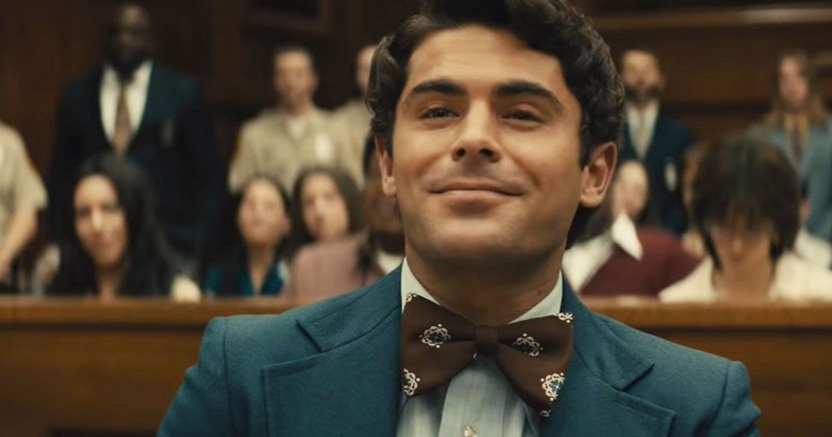 Image may contain: Zac Efron Ted Bundy Film, Zac Efron, Ted Bundy, Extremely Wicked Shockingly Evil and Vile, Netflix, UK, US, release date, cast,  People, Portrait, Photo, Photography, Court, Room, Indoors, Overcoat, Suit, Coat, Apparel, Clothing, Tie, Accessories, Accessory, Face, Human, Person