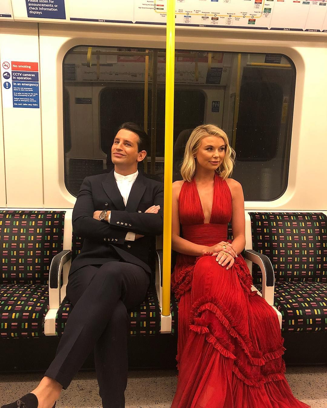 Image may contain: Made in Chelsea cast are actually from, Made in Chelsea, cast, place of birth, from, Ollie Locke, toff, Premiere, Gown, Robe, Evening Dress, Train, Transportation, Vehicle, Fashion, Clothing, Apparel, Human, Person