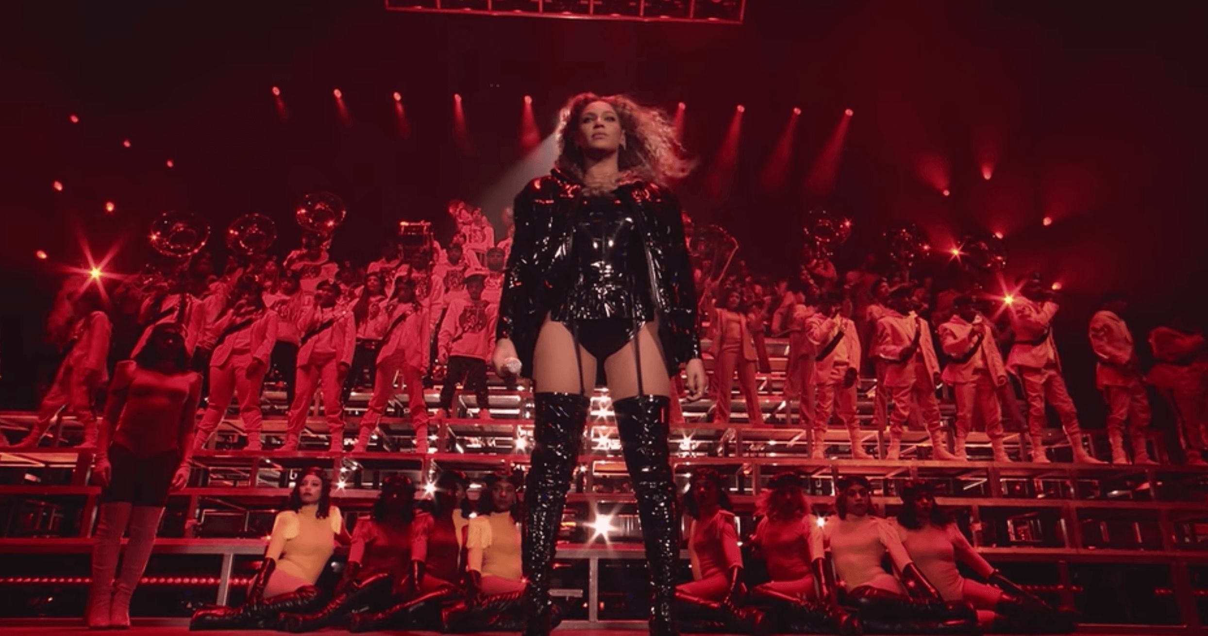 Image may contain: Beyoncé's Homecoming, beyonce, homecoming, documentary, netflix, coachella, 2018, live album, memes, review, Rock Concert, Concert, Clothing, Apparel, Stage, Crowd, Human, Person