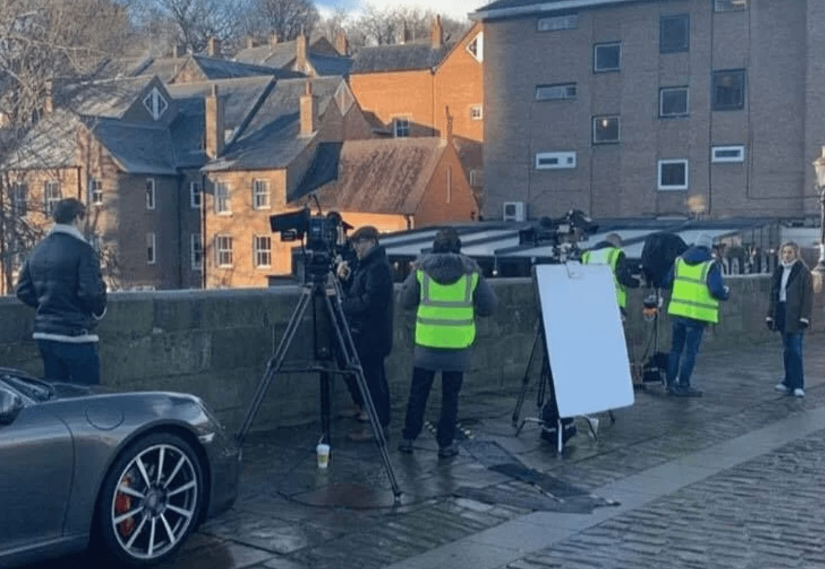 Image may contain: Made in Chelsea is staged, Made in Chelsea, MIC, Tripod, Automobile, Transportation, Vehicle, Car, Human, Person