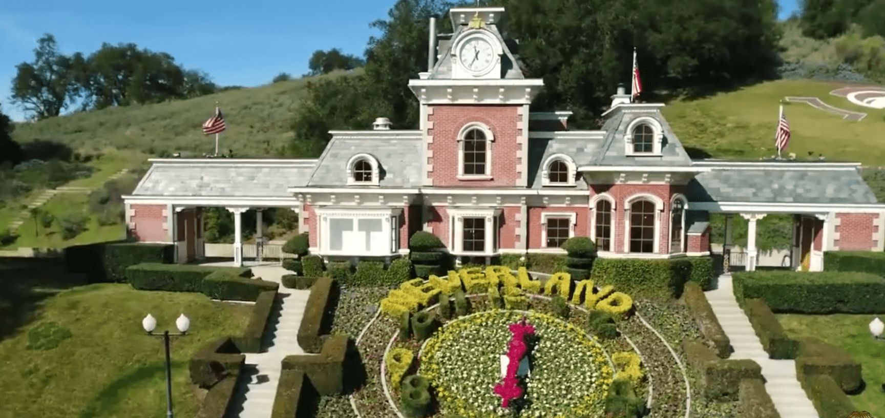 Image may contain: Neverland Firsthand, Neverland Ranch, Michael Jackson, new, news, update, Leaving Neverland, documentary, YouTube, Vegetation, Villa, Tower, Clock Tower, Cottage, Architecture, Outdoors, Grass, Housing, Building, Mansion, House, Plant, Hedge, Fence