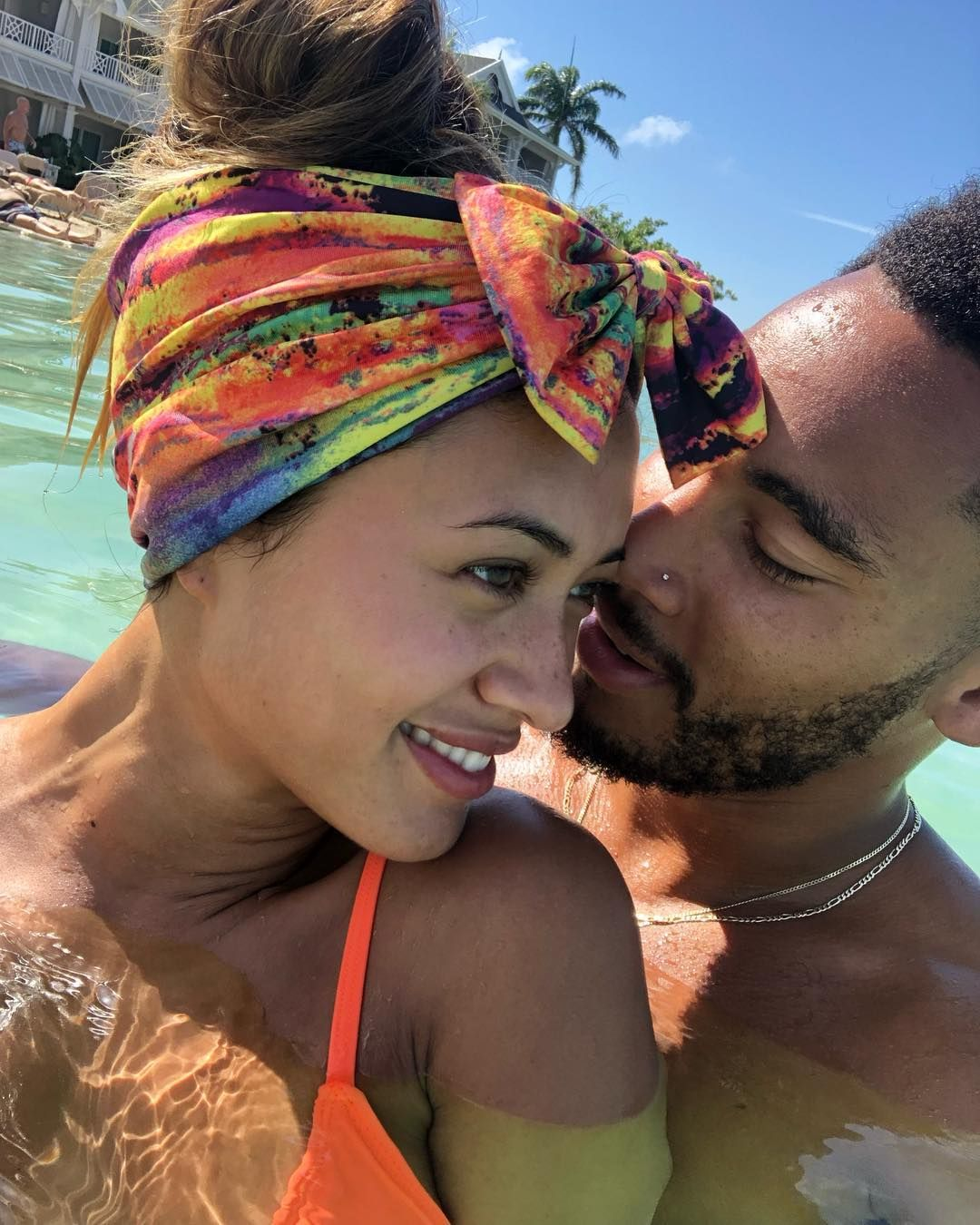 Image may contain: Kaz and Theo, Kazimir Crossley, Kaz Crossley, Theo Campbell, Josh Denzel, Love Island, dating, boyfriend, girlfriend,Bikini, Outdoors, Headband, Water, Female, Swimwear, Hat, Person, Human, Face, Clothing, Apparel