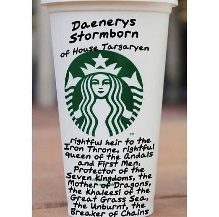 Image may contain: Game of Thrones season 8 episode 4 memes, Game of Thrones memes, Game of Thrones meme, season 8 episode 4, Starbucks cup, Daenerys, reaction, tweet, funny, best, Twitter, GoT, Ghost, Bottle, Label, Text