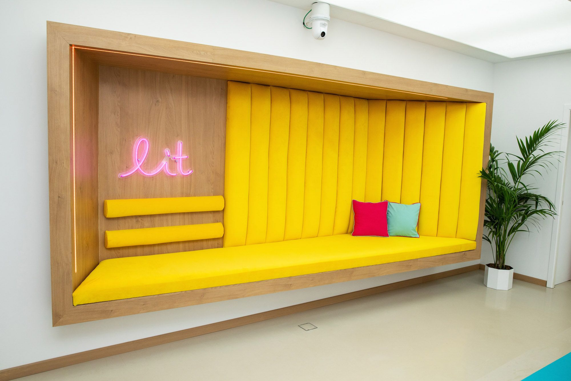 Image may contain: Love Island villa, Love Island, 2019, location, Corner, Cushion, Housing, Building, Home Decor, Waiting Room, Indoors, Room, Couch, Furniture