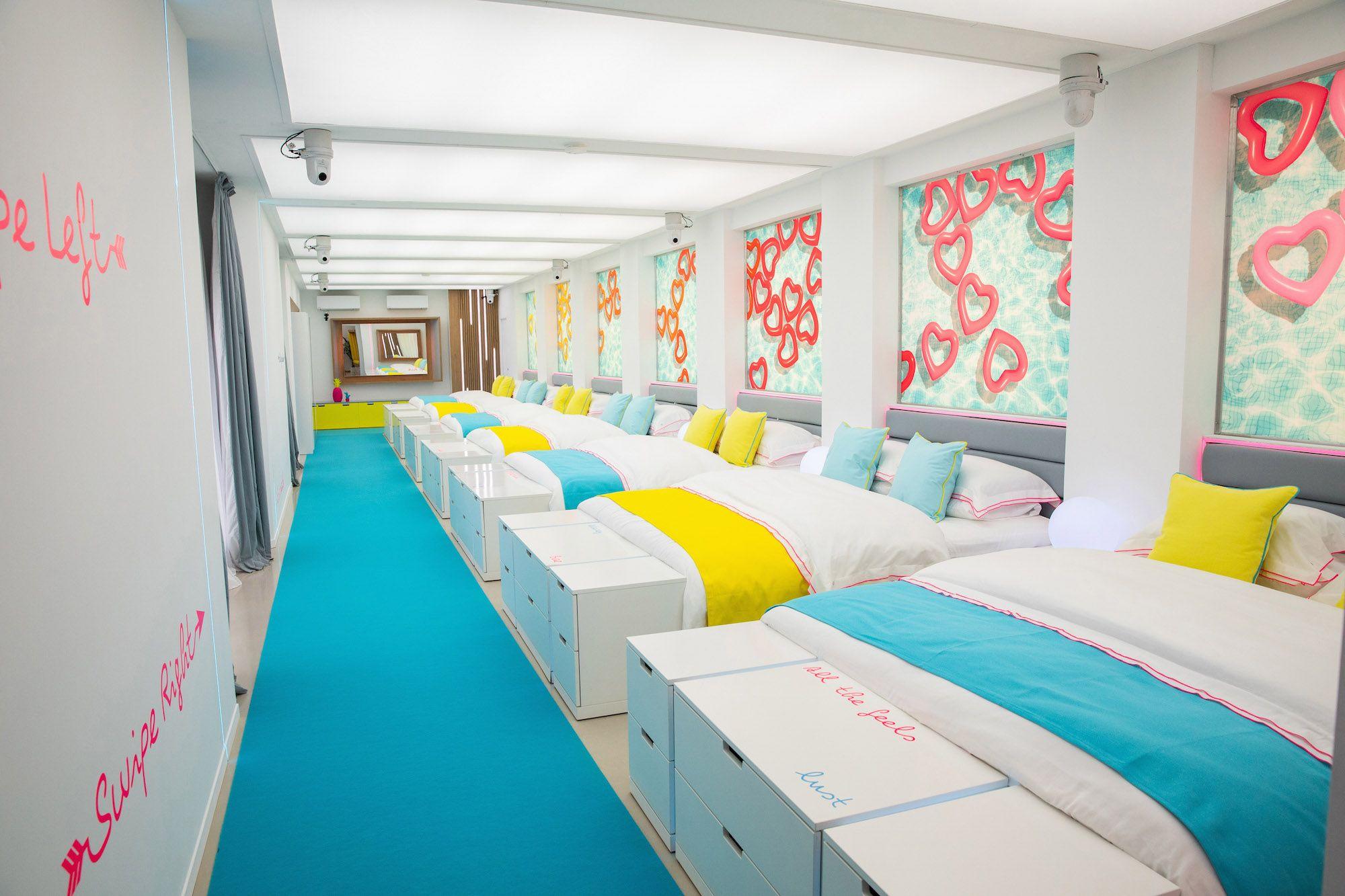 Image may contain: Love Island villa, Love Island, 2019, location, Sant Llorenç des Cardassar, Desk, Table, Interior Design, Dorm Room, Bed, Furniture, Bedroom, Indoors, Room