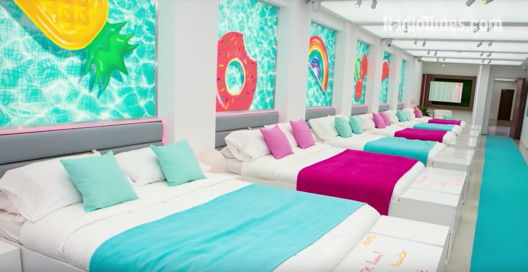 Image may contain: Love Island villa, Love Island, location, 2019, where is it, Interior Design, Building, Housing, Display, Screen, Electronics, Monitor, Bed, Room, Bedroom, Indoors, Furniture, Pillow, Cushion