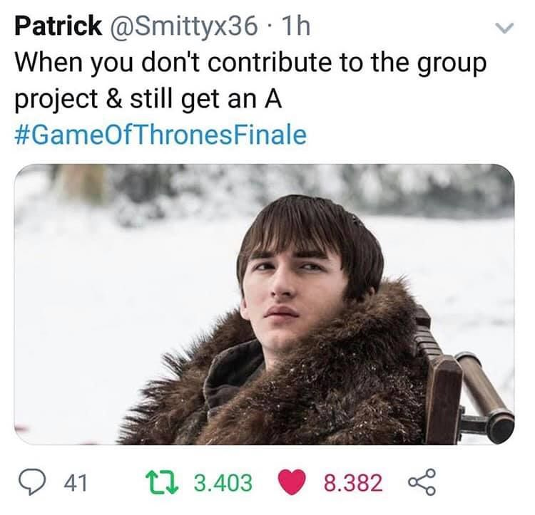Image may contain: Game of Thrones finale memes, Game of Thrones, memes, meme, finale, season 8 episode 6, reaction, tweet, Bran Stark, GoT, Twitter,Jacket, Fur, Coat, Person, Human, Clothing, Apparel