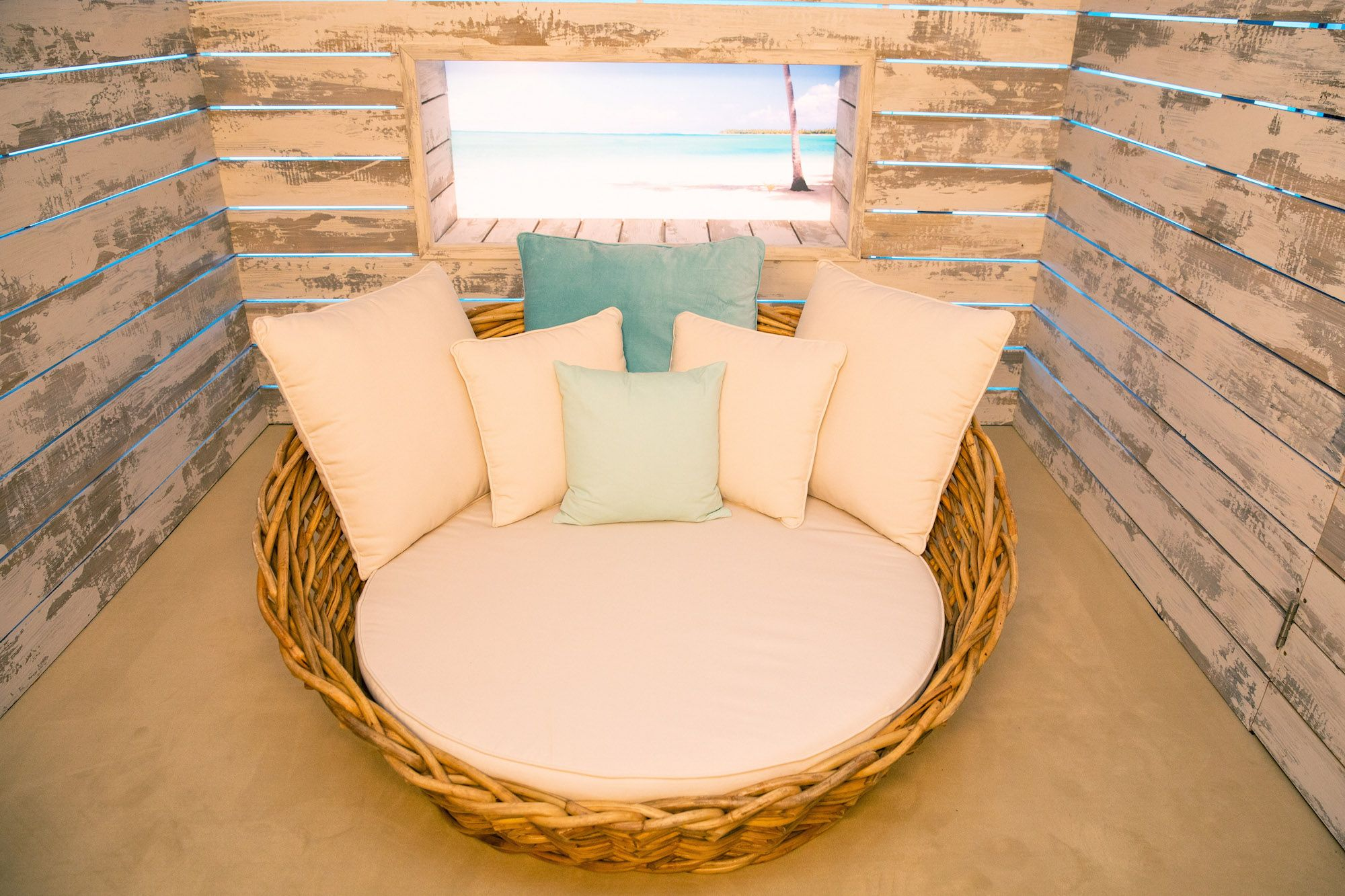 Image may contain: Love Island villa, Love Island, villa, location, 2019, where is it, Majorca, Plywood, Bed, Housing, Building, Home Decor, Wood, Pillow, Cushion, Couch, Furniture