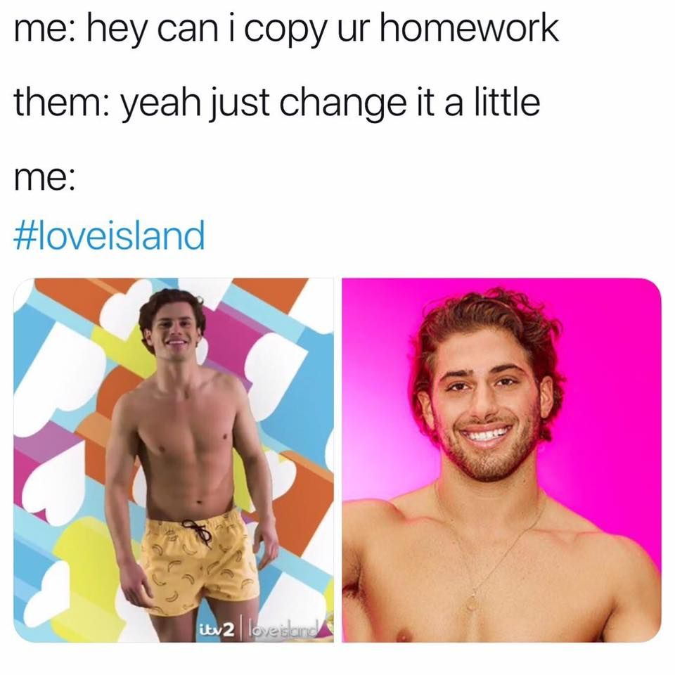 Image may contain: Love Island comparison memes, Love Island, 2019, meme, Joe Garratt, Kem Cetinay, contestant, Skin, Man, Advertisement, Poster, Shorts, Clothing, Apparel, Face, Human, Person