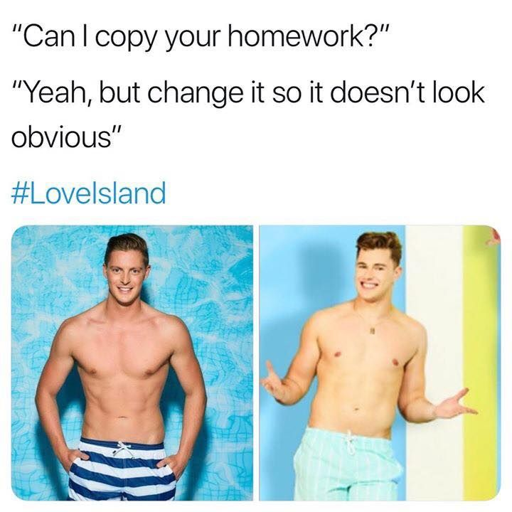 Image may contain: Love Island comparison memes, Love Island, 2019, memes, Curtis Pritchard, Dr Alex, can I copy your homework, contestants, Torso, Shorts, Clothing, Apparel, Man, Skin, Person, Human