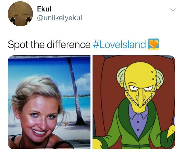 Image may contain: Love Island week two memes, Love Island, memes, reactions, tweet, funny, savage, meme, Amy, The Simpsons, Mr Burns, Advertisement, Poster, Face, Human, Person