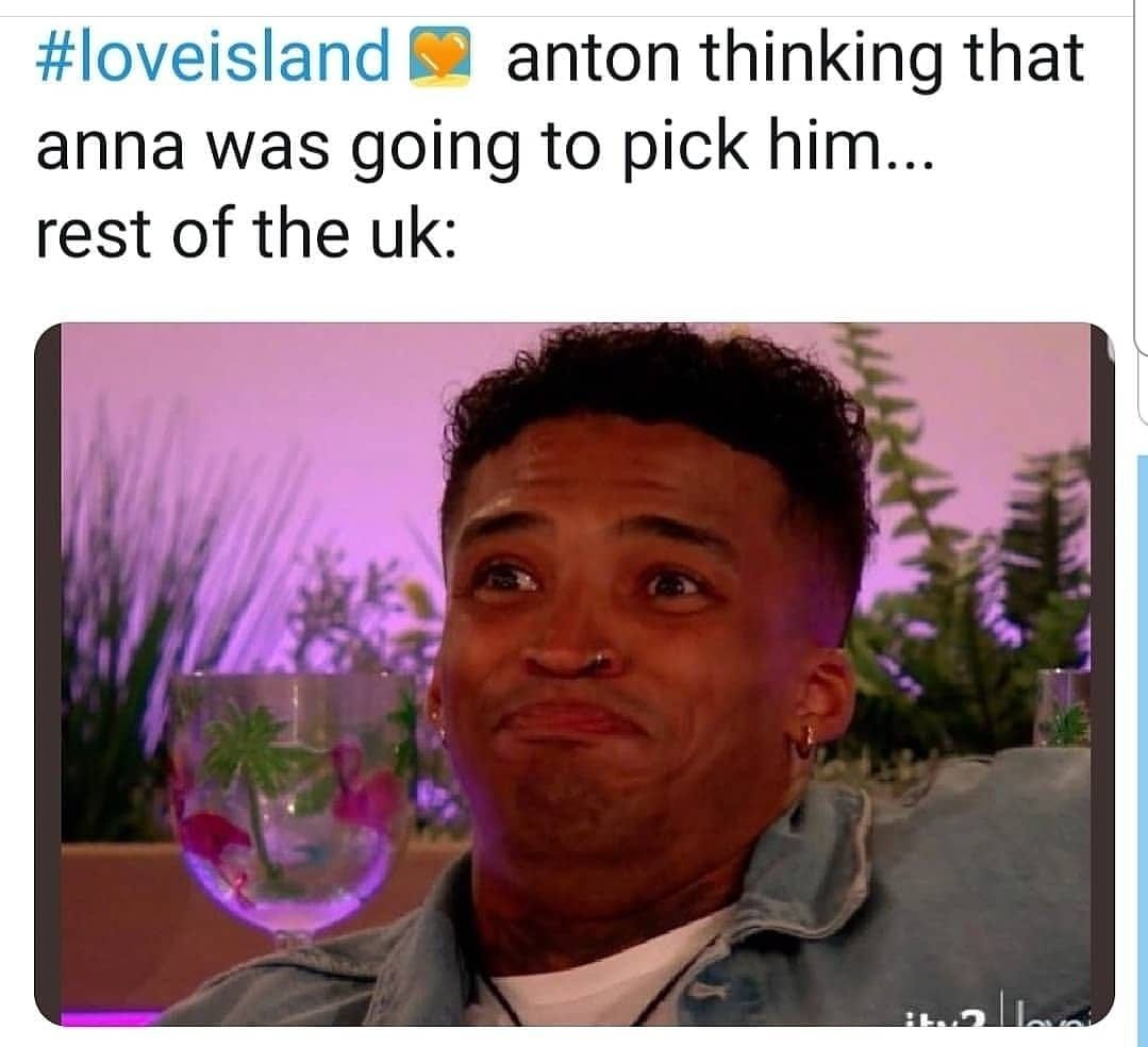 Image may contain: Love Island week one memes, Love island, 2019, memes, best, funniest, tweets, reactions, lol, Anton, Michael, contestants, cast,  Advertisement, Poster, Glass, Text, Flower, Blossom, Head, Plant, Human, Person, Face