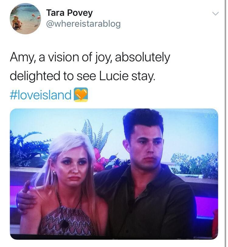 Image may contain: Love Island week two memes, Love Island, memes, reactions, tweet, funny, savage, meme, Joe, Lucie, Amy, Curtis,  Apparel, Clothing, Screen, Electronics, Head, Interior Design, Indoors, Face, Text, Person, Human