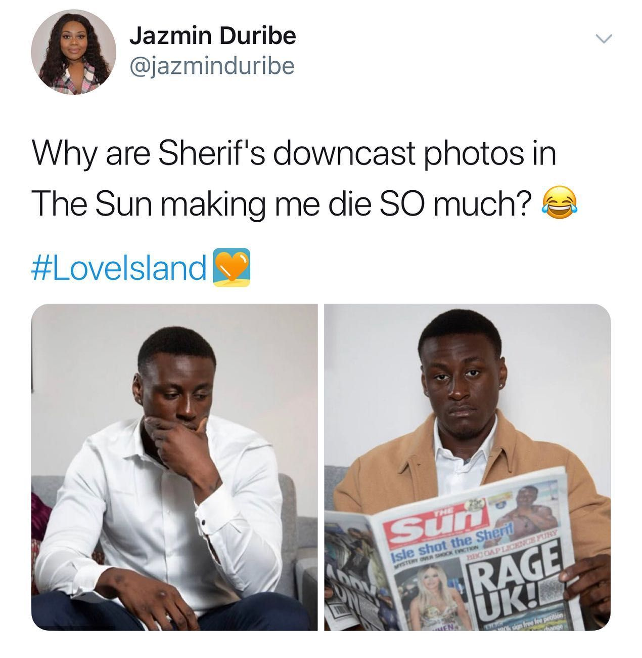 Image may contain: Love Island week two memes, Love Island, memes, reactions, tweet, funny, savage, meme, Sherif, The Sun, Apparel, Shirt, Clothing, Newspaper, Text, Person, Human