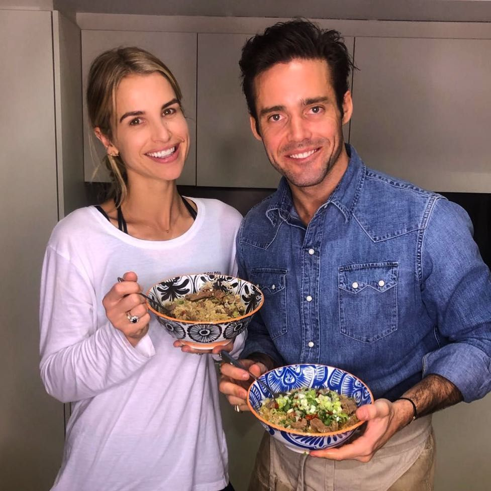 Image may contain: Made in Chelsea cast now, Made in Chelsea, cast, then, now, before, after, iconic, original, season one, Spencer, Matthews, wife, Vogue Williams, family, 2019, Bowl, Eating, Burger, Clothing, Pants, Apparel, Food, Human, Person