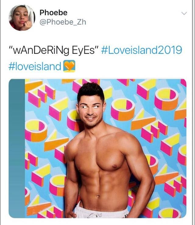 Image may contain: Love Island episode one memes, Love island, 2019, meme, Anton, wandering eye, tweet,  Clothing, Apparel, Man, Person, Human
