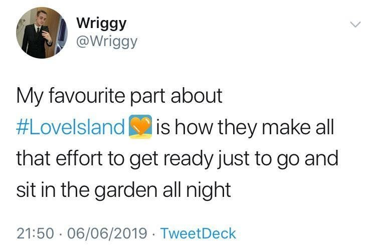 Image may contain: Love Island week one memes, Love island, memes, 2019, funny, reaction, meme, tweet, Face, Text, Human, Person