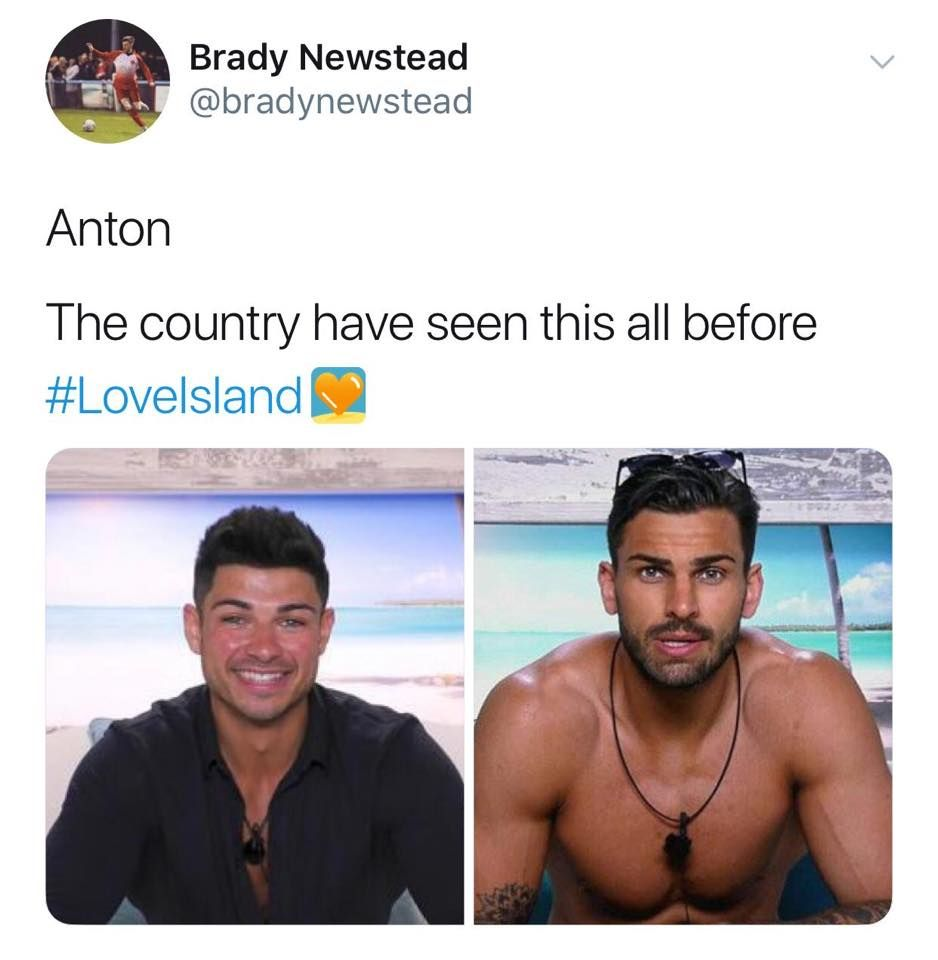 Image may contain: Love Island episode one memes, Love Island, 2019, memes, reactions, Face, Text, Person, Human