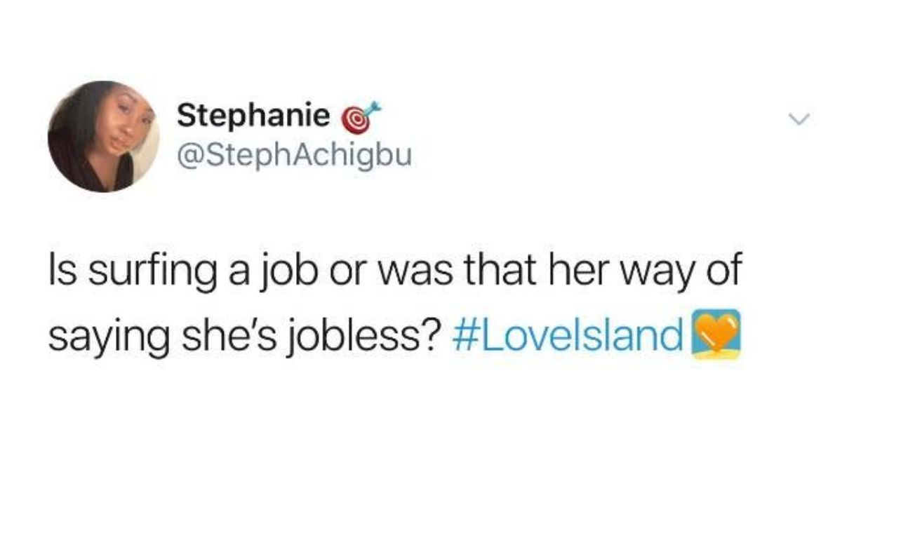 Image may contain: Love Island episode one memes, Lucie Donlan, Lucie, surfer girls, Love Island, 2019, meme, reaction, twitter,  Face, Text, Person, Human