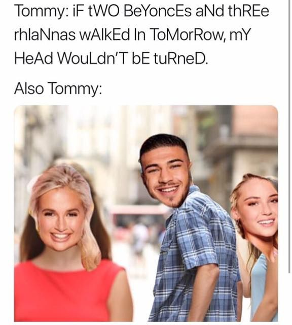 Image may contain: Love Island week one meme, Love Island, meme, tweet, series five, funny, reaction, Tommy Fury, Lucie, Molly-Mae, Female, Smile, People, Face, Dating, Person, Human