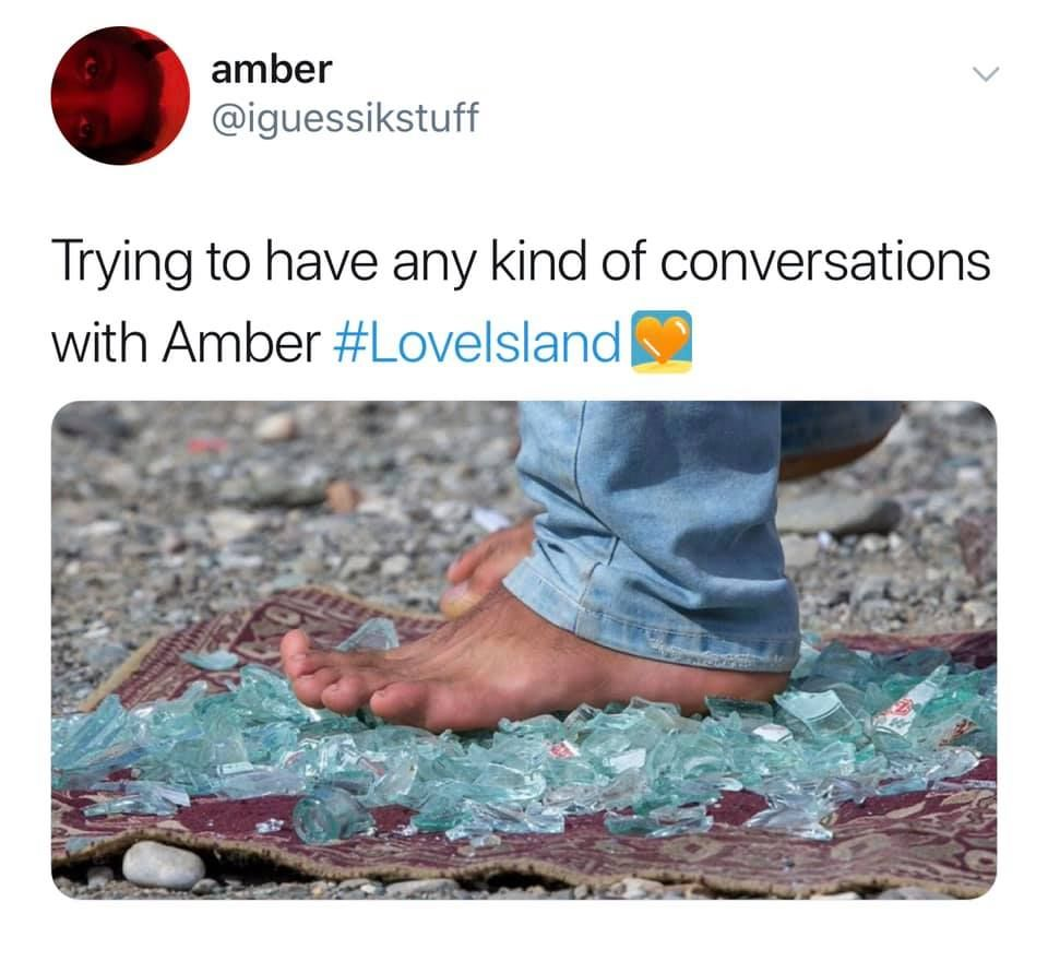 Image may contain: Love Island savage tweets, Love Island, memes, tweets, savage, online buzz, Amber, challenge, reaction, Footwear, Heel, Pants, Person, Human, Clothing, Apparel