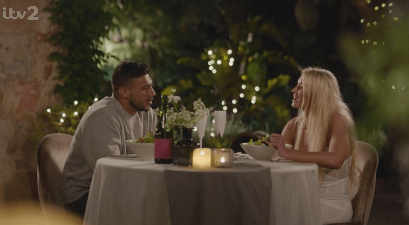 Image may contain: Joe from Love Island, Joe, Love Island, Joe Goldberg, You, Netflix, 2019, Tommy, Lucie, date, red flag, last night, episode, memes,  Glass, Food, Meal, Linen, Dining Table, Dating, Table, Furniture, Home Decor, Person, Human, Tablecloth
