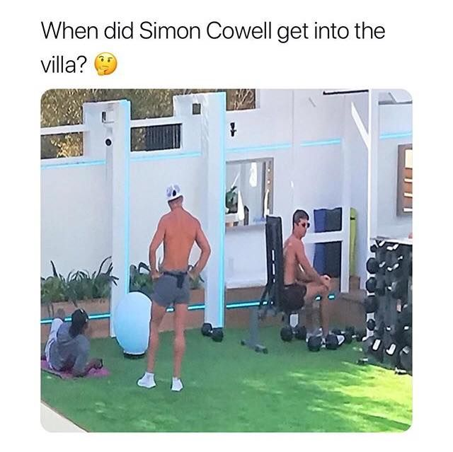 Image may contain: Love Island week one memes, Love Island, 2019, memes, reactions, Simon Cowell, Gym, Fitness, Sports, Exercise, Working Out, Sport, Human, Person
