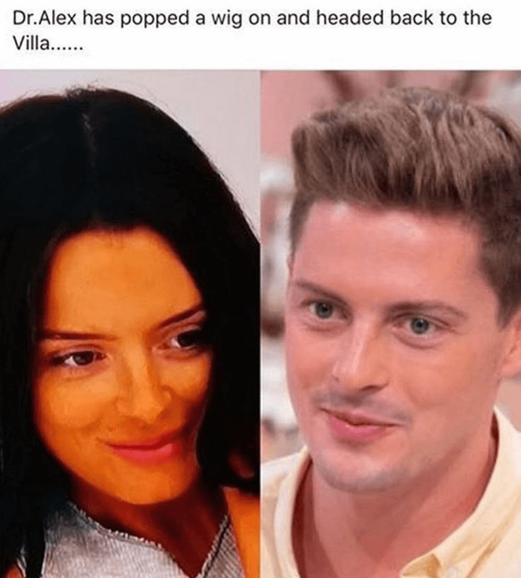 Image may contain: Love Island week two memes, Love Island, memes, reactions, tweet, funny, savage, meme, Dr Alex, Maura, Hair, Face, Human, Person