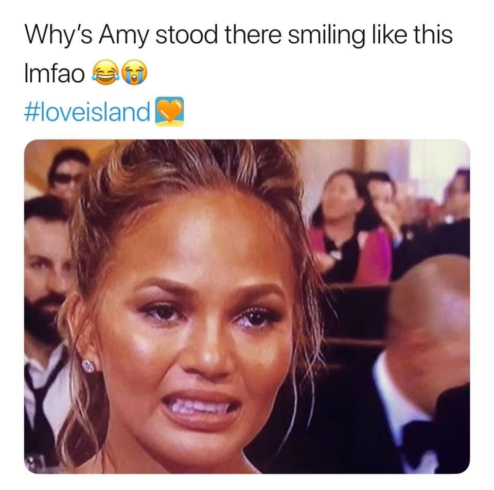 Image may contain: Love Island week two memes, Love Island, memes, reactions, tweet, funny, savage, meme, Amy, face, Head, Hair, Smile, Human, Person, Face