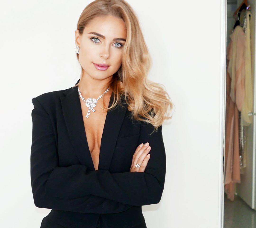 Image may contain: Made in Chelsea cast now, Made in Chelsea, cast, then, now, before, after, iconic, original, Kimberley Garner, Jewelry, Accessories, Necklace, Accessory, Teen, Blonde, Girl, Kid, Child, Dress, Blazer, Jacket, Woman, Suit, Coat, Overcoat, Apparel, Clothing, Human, Female, Person