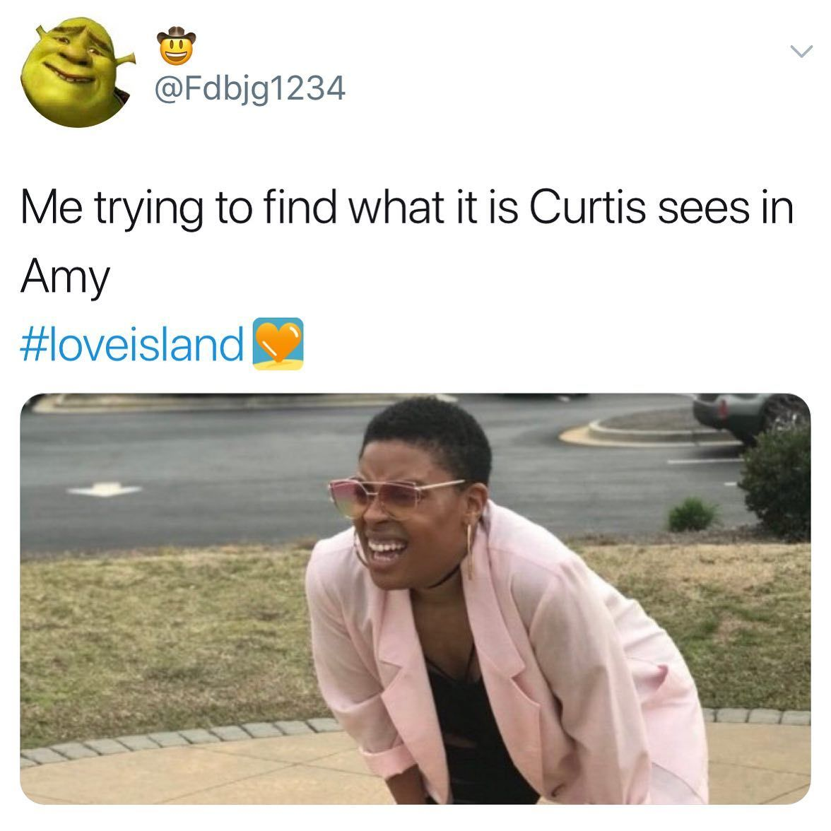 Image may contain: Love Island week two memes, Love Island, memes, reactions, tweet, funny, savage, meme, Curtis, Amy,  Lab Coat, Coat, Person, Human, Clothing, Apparel
