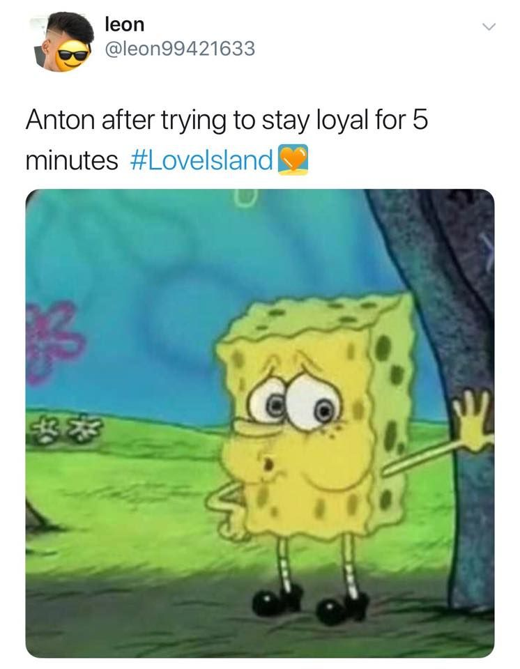 Image may contain: Love Island episode one memes, Spongebob, Love Island, 2019, meme,  Legend of Zelda, Sunglasses, Accessory, Accessories, Text, Person, Human
