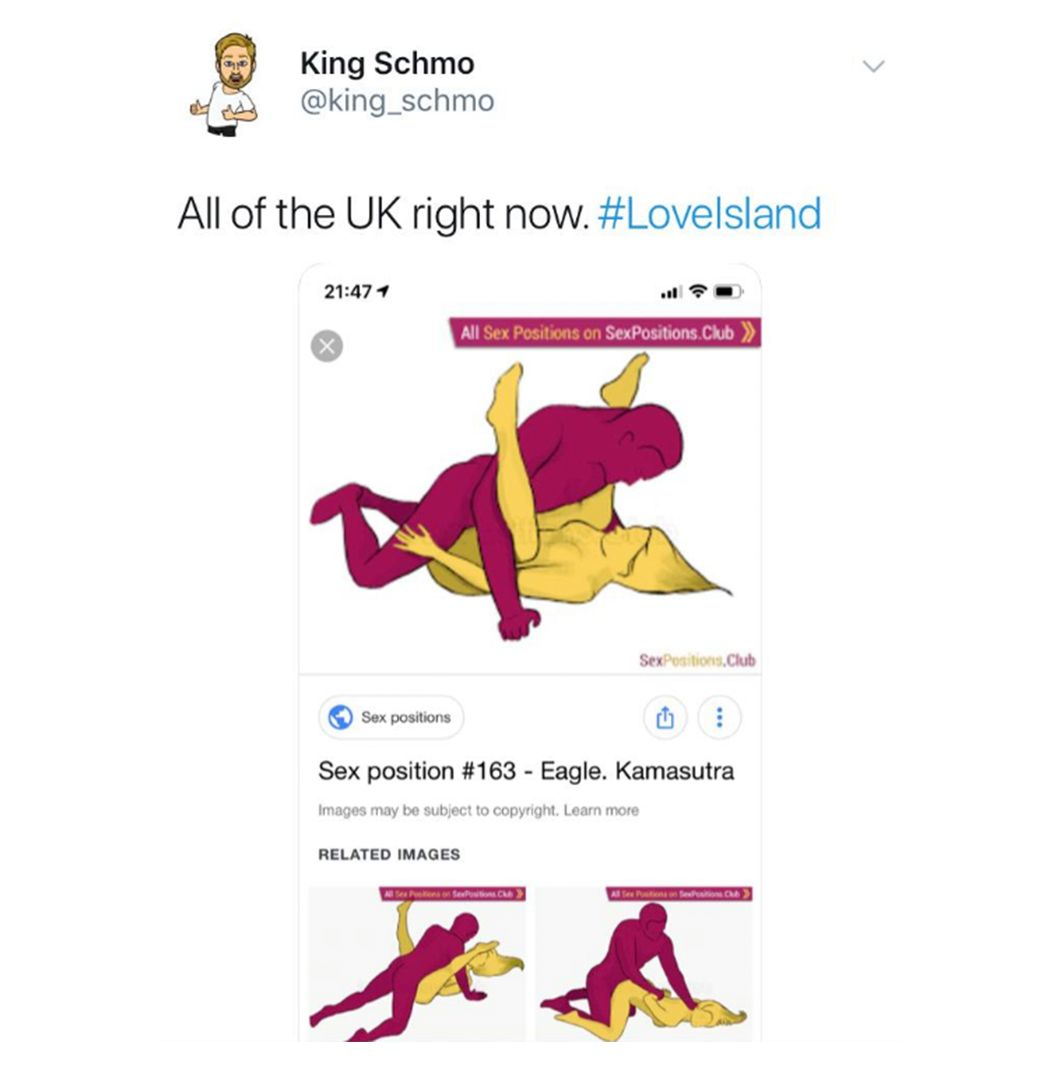 Image may contain: Love Island week one memes, Love Island, 2019, memes, the eagle, Curtis, Amy, sex, position, funny, reaction, tweet,  Paper, Flyer, Advertisement, Poster, Brochure, Human, Person, File, Text