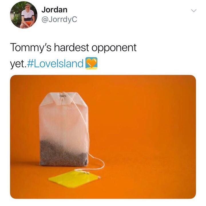 Image may contain: Love Island week one memes, Love Island, memes, 2019, Tommy, Lucie, teabag, tea, funny, tweet, reactions, contestants,  Paper, Person, Human