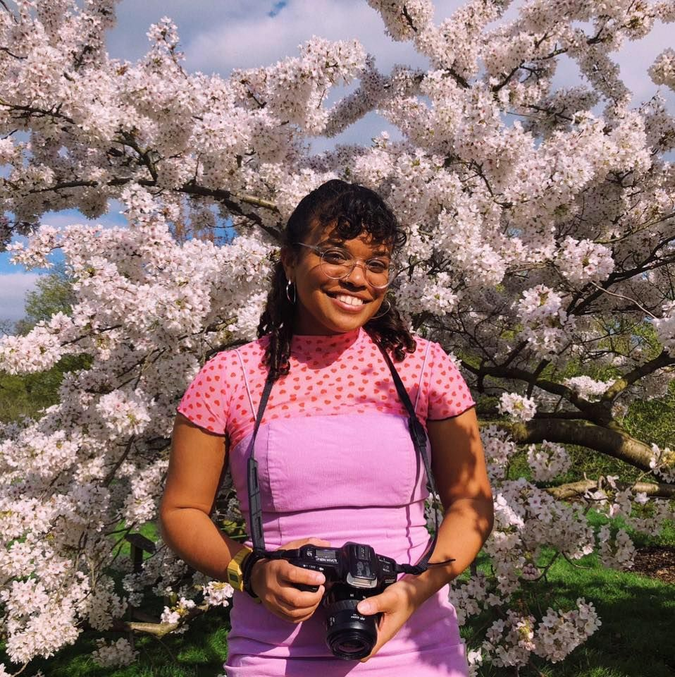Image may contain: Photographer, Electronics, Camera, Cherry Blossom, Blossom, Flower, Person, Human, Plant