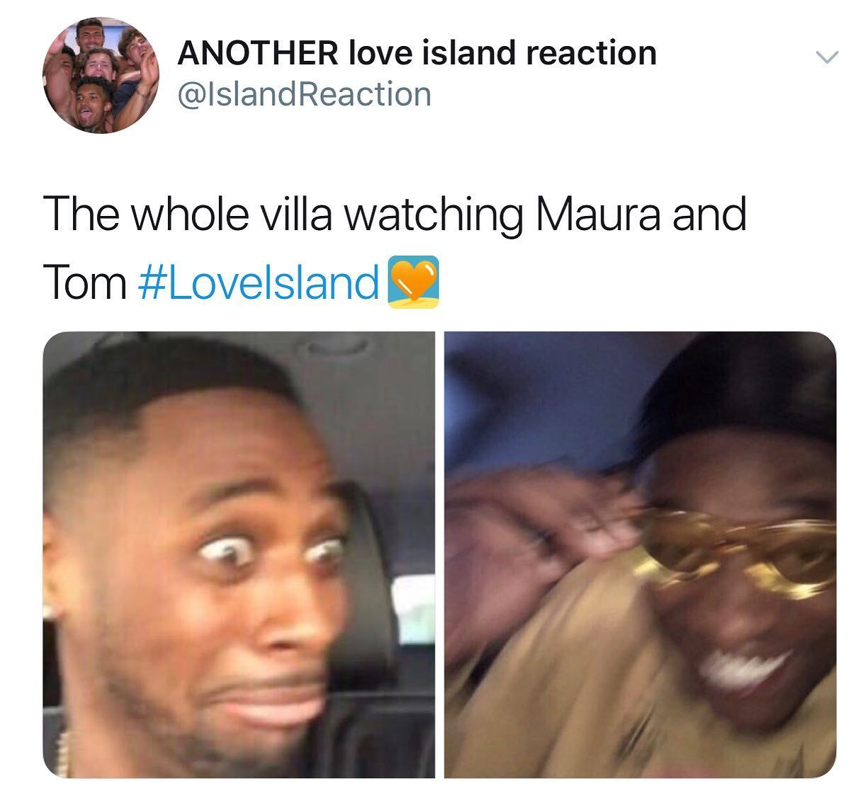 Image may contain: Maura and Tom Love Island, Tom, Maura, Higgins, Love Island, 2019, best moment, moment, all mouth, comment, memes, reaction, twitter, funny, savage,  Photography, Portrait, Photo, Id Cards, Document, Head, Text, Accessories, Accessory, Glasses, Face, Person, Human