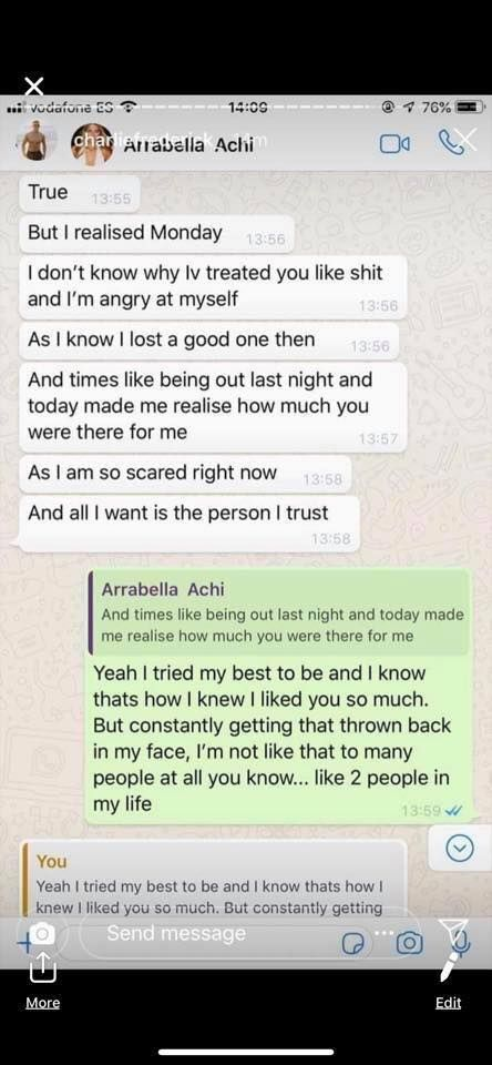 Image may contain: Arabella and Charlie Frederick, Arabella Chi, Charlie Frederick, Love Island, screen shots, DMs, messages, together, girlfriend, boyfriend, leaked, Poster, Paper, Flyer, Brochure, Advertisement, Text Message, Text
