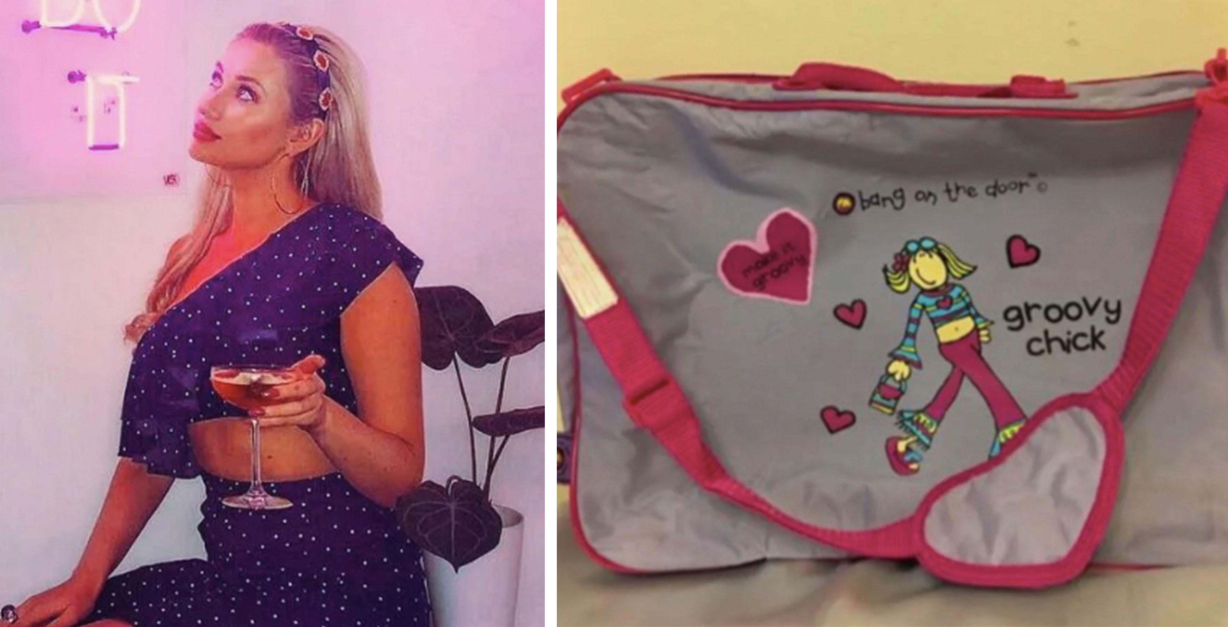 Image may contain: Purse, Clothing, Apparel, Accessory, Handbag, Accessories, Bag, Person, Human