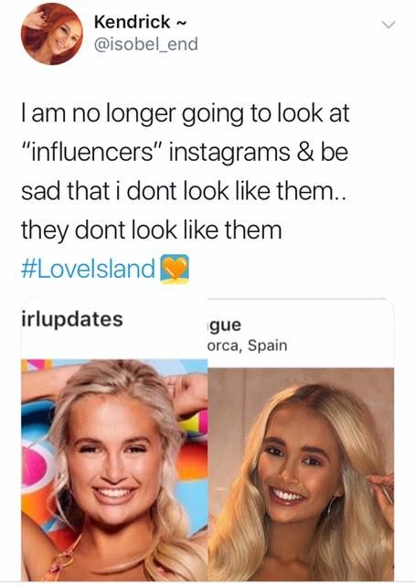 Image may contain: Love Island savage tweets, Love Island, memes, tweets, savage, online buzz, Molly-Mae, job, Smile, Jaw, Flyer, Brochure, Poster, Advertisement, Paper, Document, Id Cards, Text, Female, Face, Human, Person