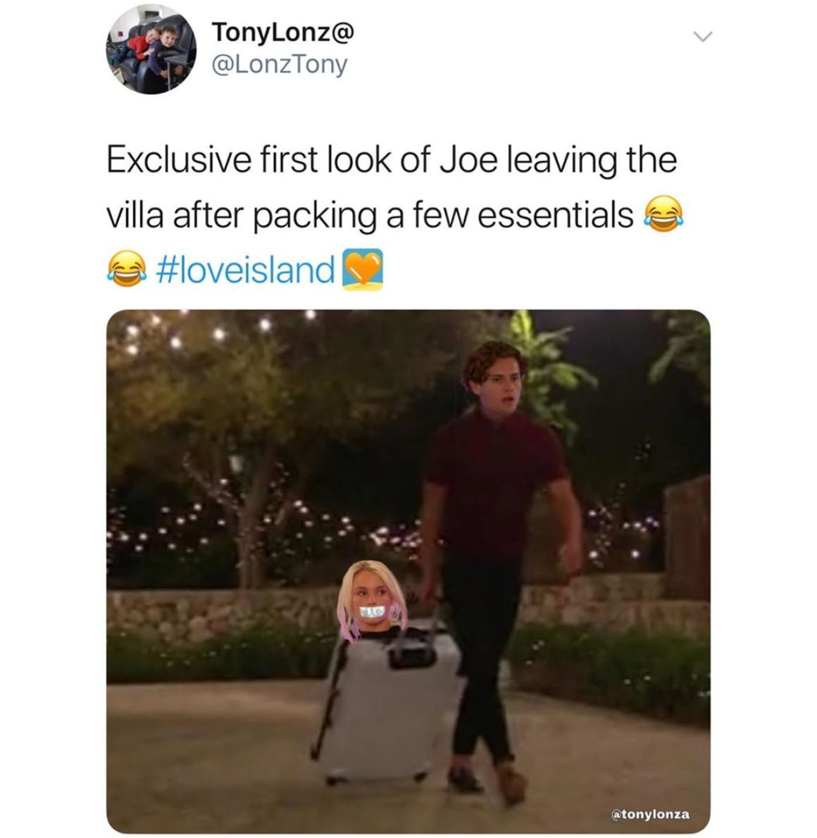 Image may contain: Love Island week two memes, Love Island, memes, reactions, tweet, funny, savage, meme, Joe, Lucie, Text, Clothing, Apparel, Person, Human