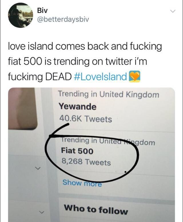 Image may contain: Love Island episode one memes, meme, Love Island, Fiat 500, twitter, funny, Text
